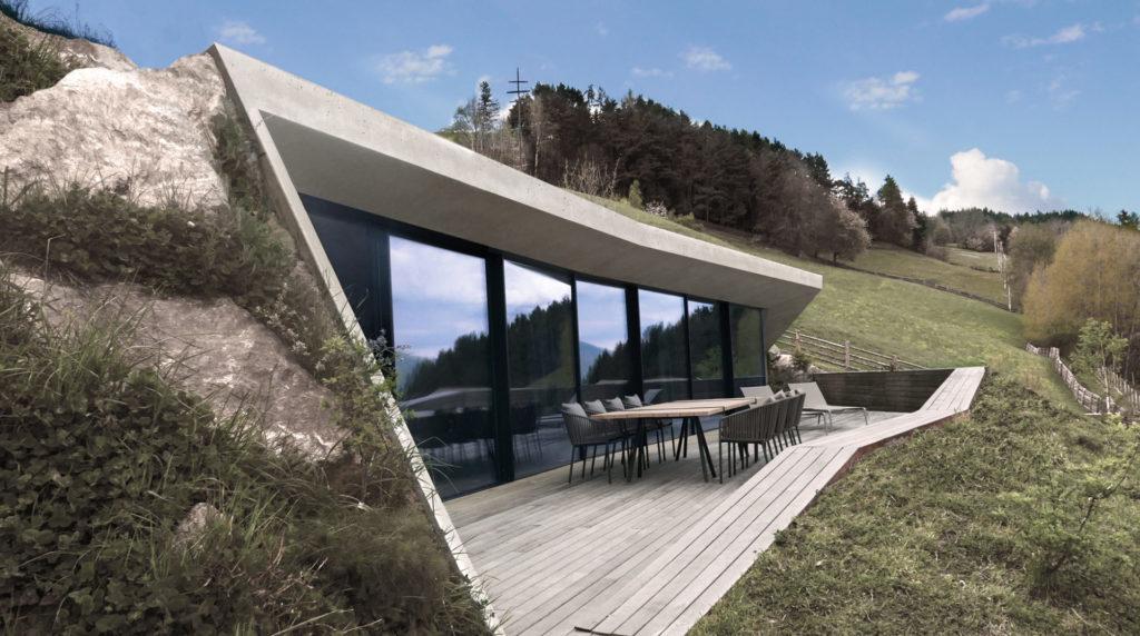 Wohnbau im Eisacktal. Sichtbeton, Architektur und Ästhetik. Baufirma Schweigkofler aus Südtirol.